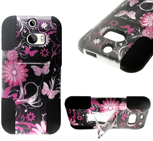 Mylife Whimsical Black + Hot Pink Butterflies And Flowers {Modern Design} Two Piece Neo Hybrid (Shockproof Kickstand) Case For The All-New Htc One M8 Android Smartphone - Aka, 2Nd Gen Htc One (External Hard Fit Armor With Built In Kick Stand + Internal So