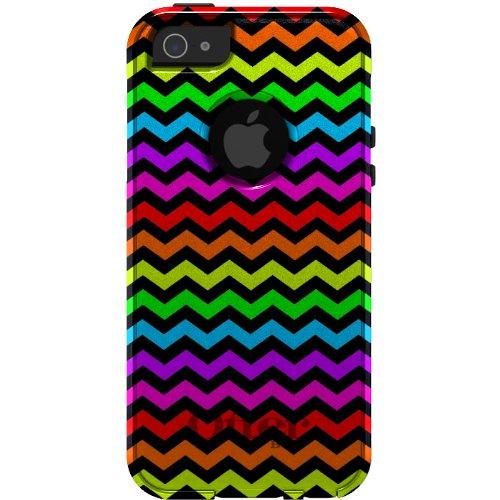 Special Sale CUSTOM OtterBox Commuter Series Case for iPhone 5 5S - Chevron Stripes Zig Zag (Black & Rainbow)