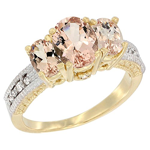 14K Yellow Gold Diamond Natural Morganite Oval 3-stone Ring, size 7.5