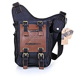 Koolertron Mens Boys Vintage Canvas Shoulder Military Messenger Bag Sling School Bags Chest Military Leather Patchwork Messenger Bag- Great Christmas Birthday Gift for Families and Friends (Black)