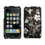  Black Silver Vine Flower Butterfly Rubberized Snap ...
