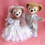 ダッフィー 結婚式 ウエディング 豪華純白ウエディングドレス&シルバータキシードセット No.61 【本体無】