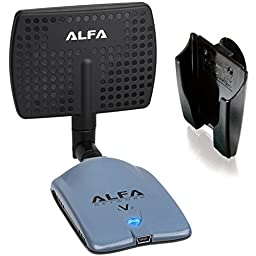 Alfa AWUS036NHV 802.11n High Power 5000mW Wireless-N USB Wi-Fi adapter w/ Removable 7dBi Panel Antenna & Suction cup Window Mount dock - Powerful 802.11 B/G/N - 150Mbps - 2.4 GHz - Realtek RTL8188EUS Chipset - Strongest on the Market - NEWEST VERSION
