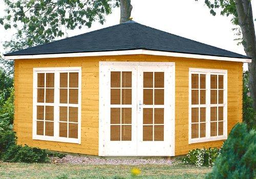 PRIKKER-Gartenhaus Gartenhaus VICTORIA - C40 Pavillon 400x400cm - 40mm - Inkl. Fußboden+Verglasung