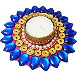 Bold N Elegant Blue Crystal Sunflower Like Handcrafted Designer Diya Candle Holder With Complimentory Tea Light...