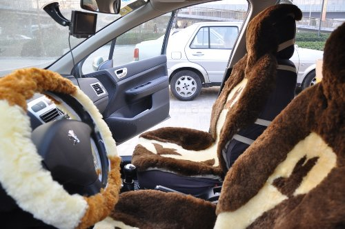 On Sale Free Shipping Sheepskin Shearing Soft Car Seat Covers and Steering Wheel Covers 10yy-nx133