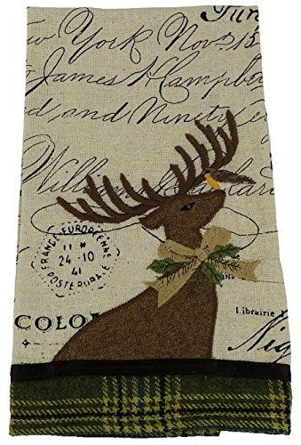Xia Home Fashions Reindeer With Applique Suede Collection Tea Towel, 16 By 22-Inch
