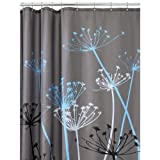 InterDesign Thistle Shower Curtain, Gray and Blue, 72-Inch by 72-Inch