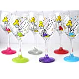 Purple Tinkerbell Inspired Hand Painted Wine Glass Fairy Fan Gifts Mystical Fairies Gift (Purple)