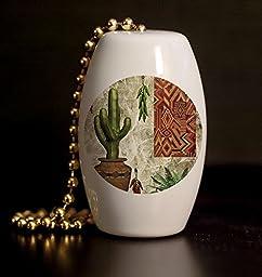 South West Kitchen Scene Porcelain Fan / Light Pull