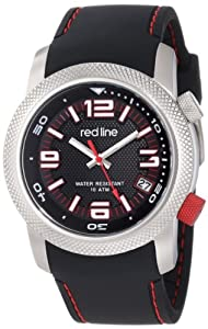 red line Men's RL-50043-01 Octane Black Textured Dial Black Silicone Watch