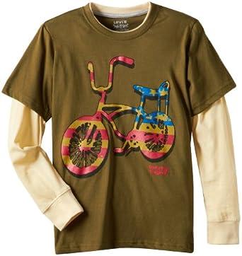 (新品)李维斯Levi's Graphic Twofer with Bicycle Tee男士拼接t恤 Ivy Green$11.35