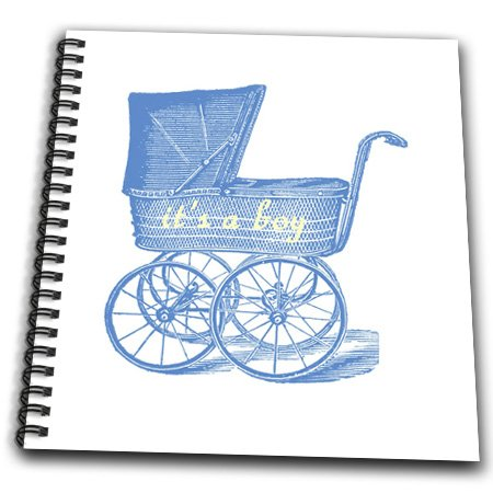 Db_112345_2 Florene Special Events - Vintage Blue Baby Carriage With Its A Boy - Drawing Book - Memory Book 12 X 12 Inch front-234653