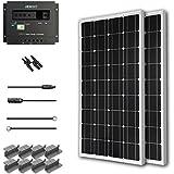 Renogy 200W Mono Starter Kit, 2 Piece 100W Solar Panels Plus 20' Adapter Kit