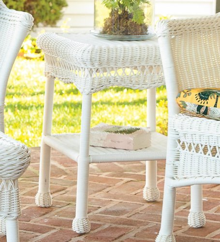 Plow & Hearth Easy Care All-Weather Outdoor Wicker End/Side Table - Resin Woven Weatherproof Wicker and Rattan Frame - 17