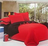 Dexim Exclusive Solid Poly Satin 4 Piece Bedding Set With Reversible Duvet Cover (Red/Black)