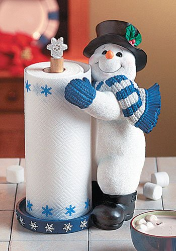 Snowman Winter Christmas Standing Paper Towel Holder