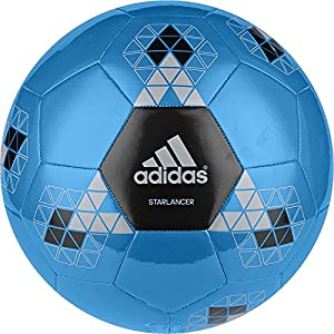 adidas Performance Starlancer V Soccer Ball, Solar Blue/Black/Metallic Silver, 3
