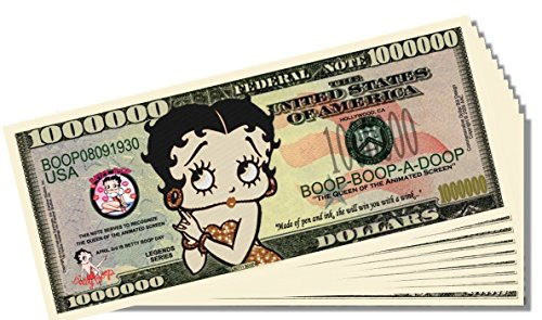 Betty Boop Novelty Million Dollar Bill - 10 Count with Bonus Clear Protector & Christopher Columbus Bill
