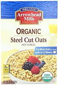 Arrowhead Mills, Organic Steel Cut Oats, Hot Cereal, 24 oz (680 g) by Arrowhead Mills