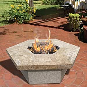 Calflame hexagon gas fire pit outdoor for Amazon prime fire pit