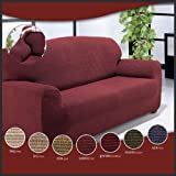 1 SEATER - Easy Stretch Elastic Fabric SOFA / SETTEE SLIP COVER Black 'Sofa Huggers' by VICEROY BEDDING