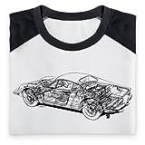 Ferrari Dino 246 Cutaway Baseball T Shirt, Mens