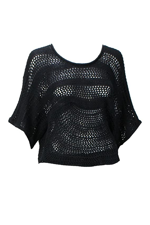 NY Collection New Black Dolman Crochet Sweater Msrp $ 50