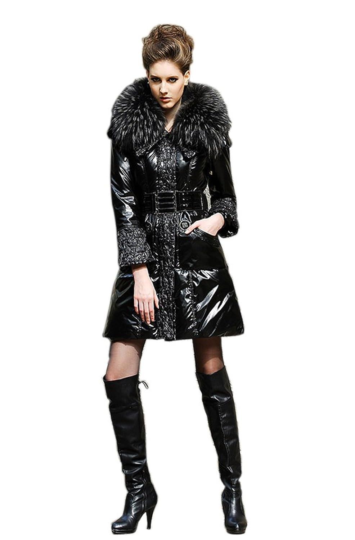 Queenshiny Damen Lange Daunenjacke Mantel mit Waschbär Pelz Kragen mit Kapuze Winter