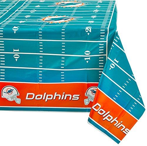 "DesignWare Miami Dolphins Plastic Table Cover, 54 by 102"""