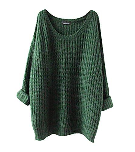 YouPue Donna Maniche Lunghe Pullover Maglia Maglione Girocollo Casuale maglioni oversize Sweatshirt Tops Maglietta Verde
