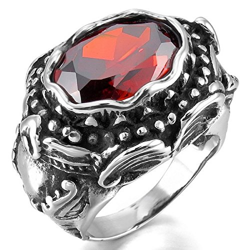 Kalendone Men's Stainless Steel Ring Simulated Diamond Red Silver Black Devil Skull Heart Ring Gothic Ring US Size 12 Jewelry