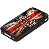Keep Calm 10002, Keep Calm And Carry On, Black Silicone Hybrid Case Cover Protector Skin Shell Bumper with Personalised Image for Apple iPhone 4 4S.