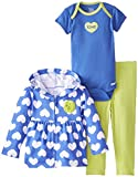 Gerber Baby Girls' Love 3 Piece French Terry Hooded Jacket Bodysuit and Pant Set, Love, 12 Months