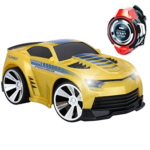 Floureon Rechargeable Voice Control Car, Voice Command by Smart Watch Creative Remote Control RC Car (Yellow)