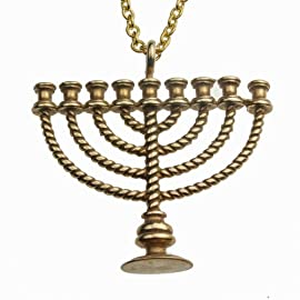 Menorah Peace Bronze Pendant Necklace on 20