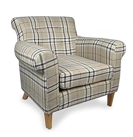 Shankar Pittsburgh Check Fabric Armchair