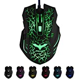 HAVIT HV-MS672 Ergonomic LED Wired Mouse with 7 Soothing LED Colors, 6 Buttons