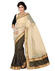 Black Raw Silk Printedand Beige Royal Net Saree With Blouse