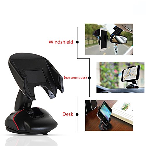 Car Mount - Yukiss Easy One Touch Cell Phone Mount Dual USB 21A Charger Bonus - Foldable Mobile Phone Car Mount and Smartphone Car Holder for iPhone 6s Plus 6s 5s Samsung Galaxy S7 Edge S6 S5 Note 5
