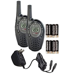Cobra Walkie-Talkie microTalk CXT90 18-Mile 22-Channel Two-Way Radio (Black, Pair)