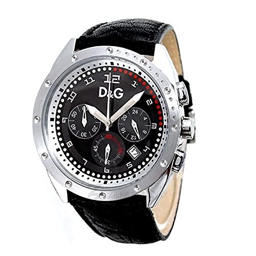 D&G Dolce&Gabbana d&g excellent - Reloj analógico de caballero de cuarzo con correa de piel negra - sumergible a 30 metros