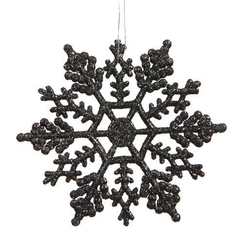 Club Pack of 24 Jet Black Glitter Snowflake Christmas Ornaments 4″