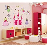 Asmi Collection New Angel Castle Princess Fairy Wall Stickers For Kids Room