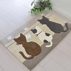 なかね家具 玄関マット アニマル ネコ 洗える マット 55×85 グレー (1841243) 105 fuji