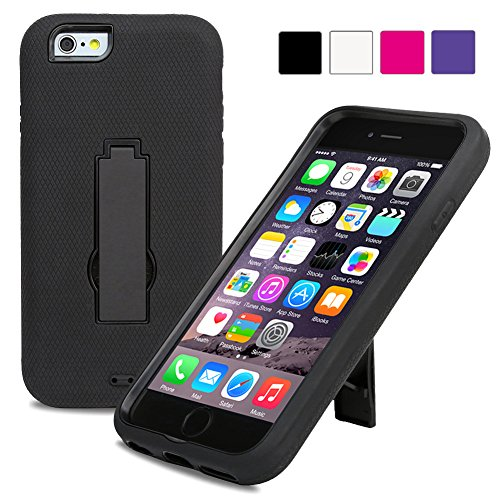 Evecase Iphone 6 Plus Case, Armure Heavy Duty Dual Layer Protective Case With Kick-Stand For Apple Iphone 6 Plus 5.5'' Screen 2014 Smartphone - Black
