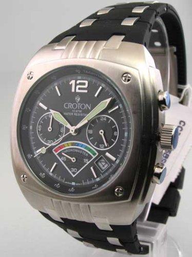 Mens Croton Rubber Chrono 3 Eye Date Watch CC311156BSBL