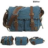 Canvas Leather Satchel School Military Shoulder Bag Messenger Bag (blue)