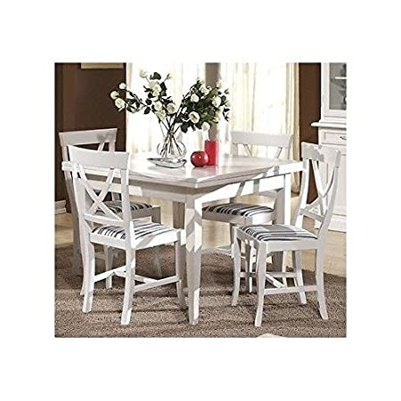 Square Table, Solid Wood, 100 x 100 cm, Extendible with 4 Chairs, Painted, As Seen in Photo White and Ivory