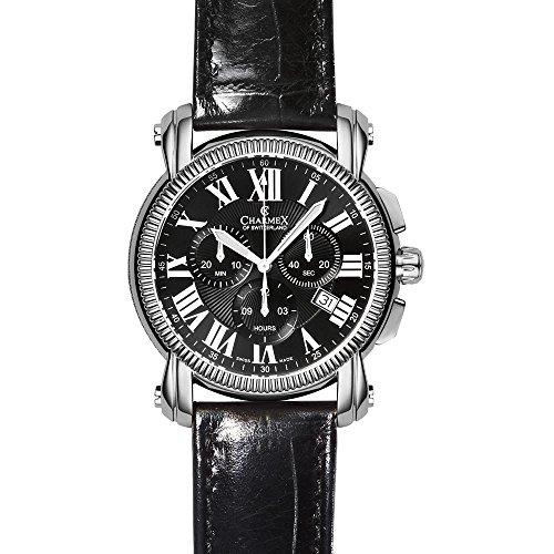 Charmex Aspen Homme 42mm Chronographe Noir Cuir Bracelet Date Montre 2451